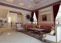 欧式现代客厅3D模型图