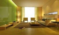 清雅现代客厅3D效果图
