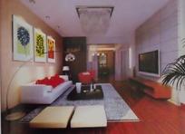 时尚典雅风格客厅装饰效果图3D模板素材
