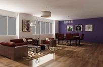 时尚豪华客厅装饰效果图3D模型素材