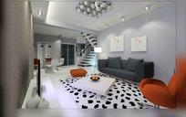 时尚唯美风格客厅装饰设计效果图3D模型下载