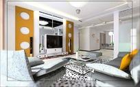 时尚现代风格客厅装饰效果图3D模型素材
