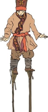 手绘踩高跷的古代男子