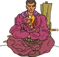 手绘端坐的古代日本武士
