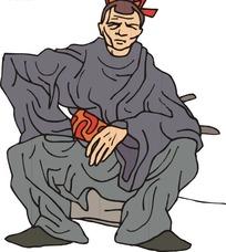 手绘蹲着的古代日本武士