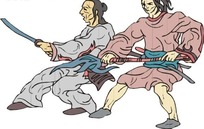 手绘两个古代日本武士