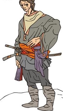 手绘佩刀的古代日本武士