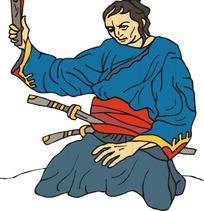 手绘手拿竹板的古代日本武士