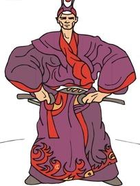 手绘双手握着刀柄的古代日本武士