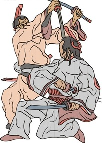 手绘正在搏斗的古代日本武士