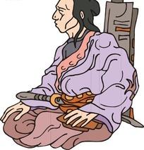 手绘坐在地上的古代日本武士