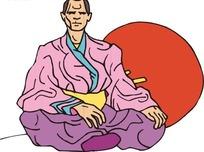 手绘坐在红色圆形图案前面的古代日本人