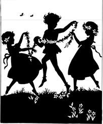 跳舞的小男孩和小女孩剪影