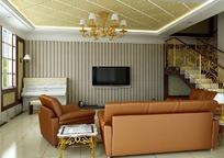 现代豪华精装客厅3D效果图