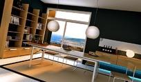 现代书房3D效果图