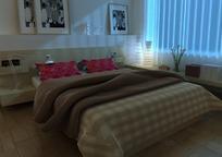 现代卧室3D模型图