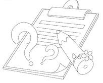 写字夹上的小花铅笔和问号