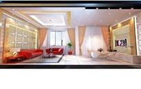 新式客厅3D效果图
