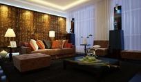 艺术气息中式客厅3D效果图