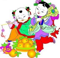 传统年画中欢乐的金童玉女