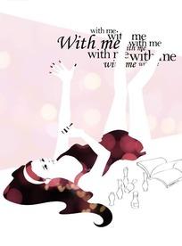 手绘躺在地上的长发美甲美女
