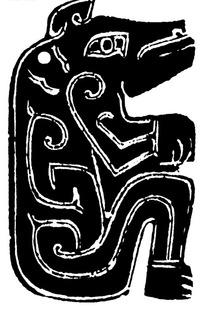 黑白风格木版画效果仿青铜祥云花纹卧着的猪图片