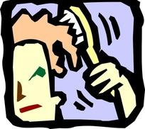 拿梳子梳头发的卡通人物