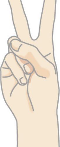 手绘做v字形手势的手正面