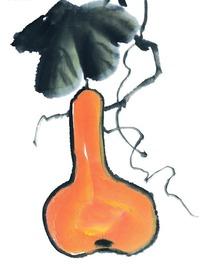 叶子下的橙色葫芦水墨画图片