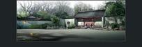长满绿树的古建园林门前景观效果图