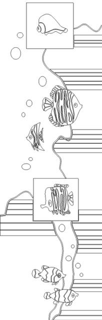 黑线条几何线波浪帆船花纹玻璃门图矢量图