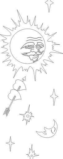 黑线条太阳老人童话玻璃门图