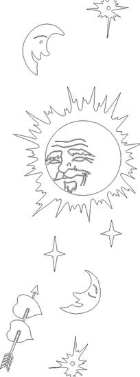 黑线条太阳老人童话星光玻璃门图