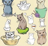 卡通猫矢量图