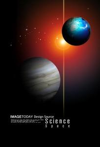 梦幻色彩的地球与木星的图片
