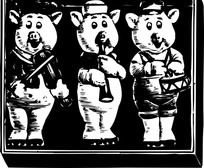 三只演奏的小猪