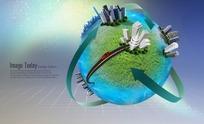 PS带箭头的地球建筑模型概念图分层PSD