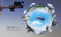 PS地球建筑模型概念图分层PSD