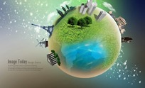PS地球世界建筑模型概念图分层PSD