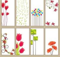 长方形花底纹素材图片