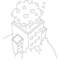 城市楼顶上种着桃心植物