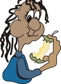 吃苹果的黑人
