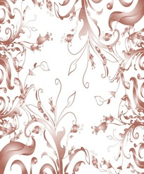 啡色细枝单叶灯笼花对称花纹
