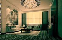 高雅华贵客厅装饰效果图3D模板素材