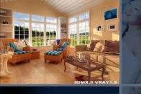 豪华暖色调客厅装饰效果图3D模型素材
