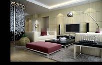 豪华现代客厅装饰效果图3D模板素材