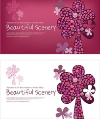 红色和白色背景两款带树图案秋系列旅行卡片设计