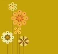 花朵图案落日黄背景
