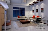 简约客厅3D效果图
