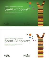 绿色和白色两款背景秋系列旅行卡片设计
